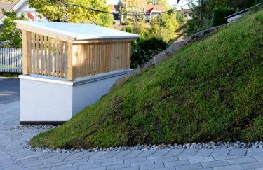 Søppelhus av Leca og impregnert trevirke bygget av TREST entreprenør i Oslo og Akershus