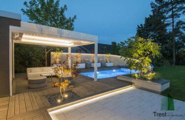 Trest entreprenør AS her har bygge moderne hage med motorisert pergola, baseng, plantekasse, terrasse av MøreRoyal Talgø i Oslo og Akershus