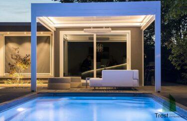 Trest entreprenør AS her har bygge moderne hage med motorisert pergola, baseng i Oslo og Akershus