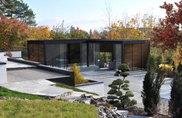Trest entreprenør har ferdigstilt nok et nytt hageprosjekt i Oslo og Akershus. Vi bygge Renson pergola Camargue, terrasse av Accoya, Oppdal skifer, plantekasser av Leca.