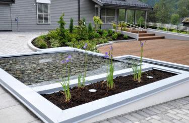 Trest hage entreprenør i oslo og akershus, design hage, vannspeil, terrasse MøreRoyal, plantekasse Leca, planting