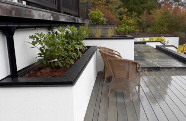 Trest hage entreprenør i oslo og akershus, designhage, plantekasse, mur med blikk, terrasse Accoya